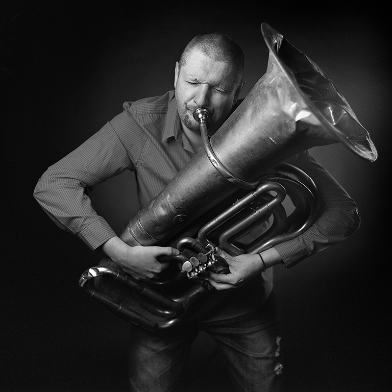 Portrait of a musician with tuba