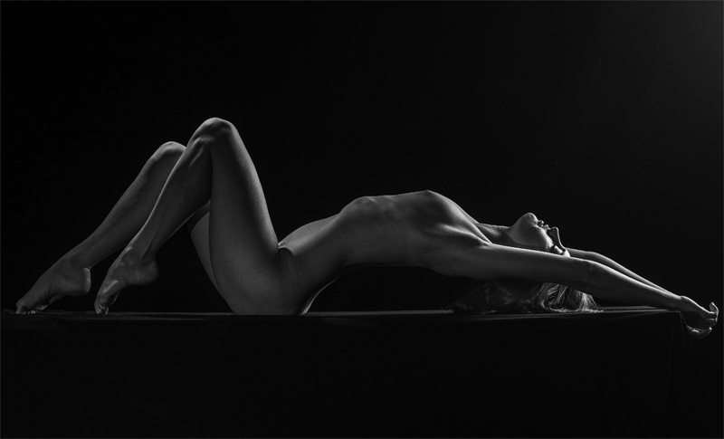 The expert, reclining nude black and white remarkable