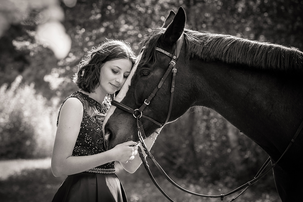 Beautiful moment between girl and horse