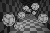 checkerboard and spheres