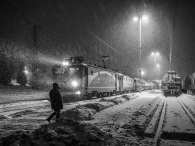 winter night in the train station
