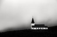 Vik Church Surrounded by Mist, Iceland